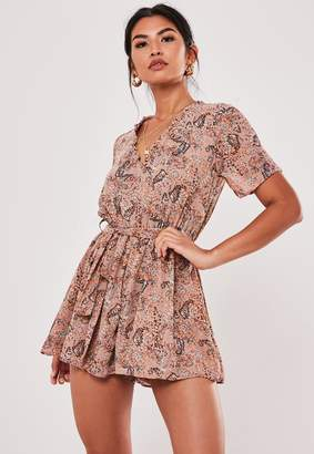 Missguided Blush Floral Print Ruffle Sleeve Playsuit