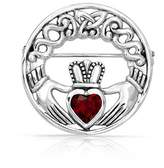 Bling Jewelry 925 Silver Celtic Claddagh Pin Simulated Emerald Heart CZ