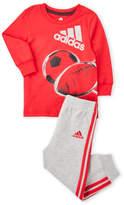 adidas Newborn/Infant Boys) Two-Piece Tee & Sweatpants Set