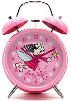 "4"" Large Children QUIET Alarm Clock for Kids - Twin Bell - Metal Frame –Non Ticking SILENT Clocks–Battery Operated - NightLight - Children/ Boys/ Girls (Pink Fairy Girl)"
