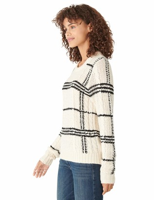 Lucky Brand Women's Long Sleeve Crew Neck Plaid Cable Sweater