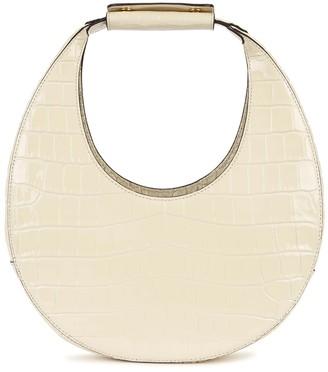 STAUD Moon Cream Leather Top Handle Bag