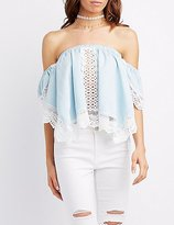 Charlotte Russe Crochet-Trim Off-The-Shoulder Top