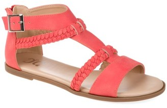 Brinley Co. Womens Comfort T-strap Braided Sandal