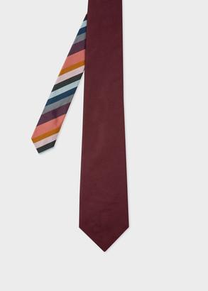 Paul Smith Men's Burgundy Silk-Twill Tie With Stripe Tip