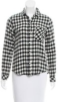 Current/Elliott Gingham Long Sleeve Top