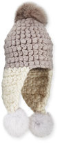 Mischa Lampert Chunky-Knit Wool Pompom Trapper Hat, Pewter/White