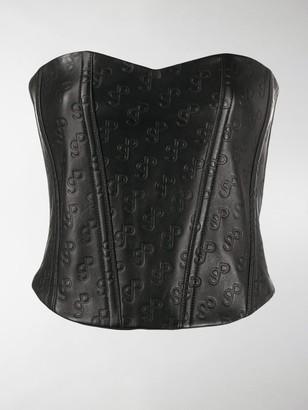 Saks Potts Logo Embossed Leather Corset