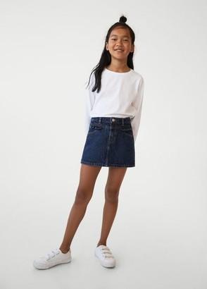 MANGO Ruffle denim skirt dark blue - 5 - Kids