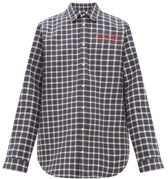 Martine Rose Logo-embroidered Checked Bonded-cotton Shirt - Mens - Grey Multi