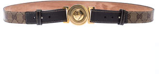 Gucci Beige/Brown GG Supreme Canvas and Leather Round Hysteria Buckle Belt 95CM