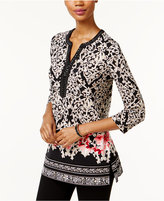 JM Collection Printed Y-Neck Top, Only at Macy's
