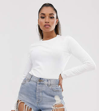 Asos DESIGN Petite ultimate organic cotton crew neck long sleeve t-shirt in white