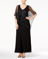 J Kara Plus Size Hand-Beaded Capelet Gown