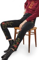 Topshop Petite Women's Rose Embroidered Mom Jeans