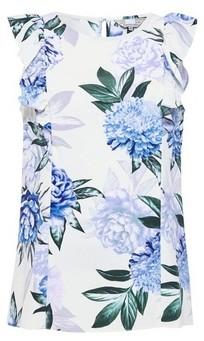 Dorothy Perkins Womens Billie & Blossom Blue Floral Print Ruffle Shell Top, Blue