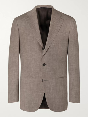 Saman Amel Taupe Melange Wool, Silk And Linen-Blend Suit Jacket
