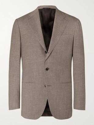 Taupe Melange Wool, Silk And Linen-Blend Suit Jacket