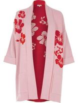 River Island Womens Pink and red flower knit cardigan