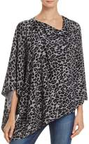 Minnie Rose Leopard-Print Ruana Cashmere Poncho