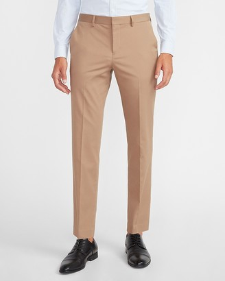 Express Slim Solid Light Brown Cotton Sateen Suit Pant