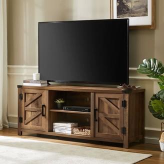 "Wampat Farmhouse Barn Door TV Stand Wood Media Console Rustic Oak Wash 59"""