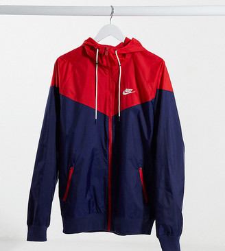 Nike Tall hooded windbreaker jacket in red and blue