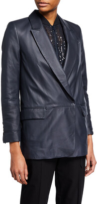 Brunello Cucinelli Single-Breasted Leather Jacket