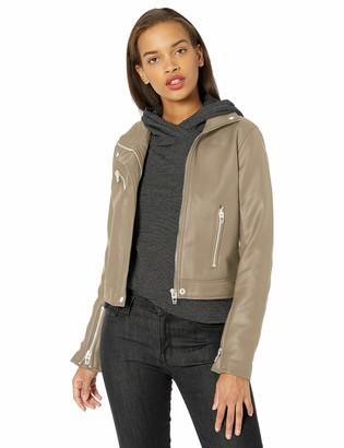 Blank NYC Women's Vegan Leather High Collar Moto Jacket Taupe