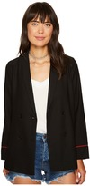 XOXO Embroidered Long Sleeve Double Breasted Jacket