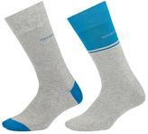 Hugo Boss Boss Stripe Plain Socks, Pack Of 2, Grey/blue