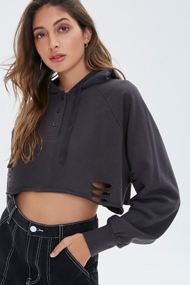 Forever 21 Distressed Cropped Hoodie