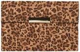 Leopard Faux Suede Clutch Bag