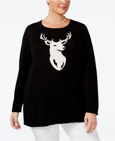Charter Club Plus Size Reindeer Sweater, Only at Macy's