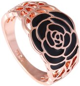Acefeel Vintage Style Hollow Design Black Enamel Rose Flower Womens Ring Mother's Day Gift R237 Size 6