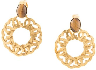 Chanel Pre Owned 1995 tiger's eye CC earrings
