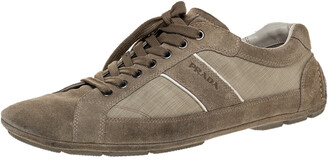Prada Sport Grey Suede Leather And Fabric Low Top Sneakers Size 43.5