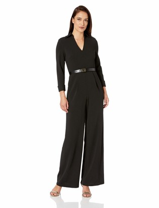 Calvin Klein Women's Belted Jumpsuit with V Neck Collar