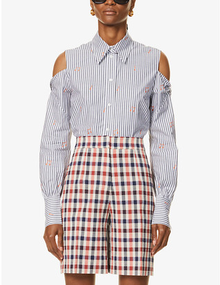 Victoria Victoria Beckham Cold shoulder pinstriped cotton-poplin shirt