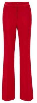 HUGO BOSS Flared Regular Fit Pants With High Rise Waist - Red