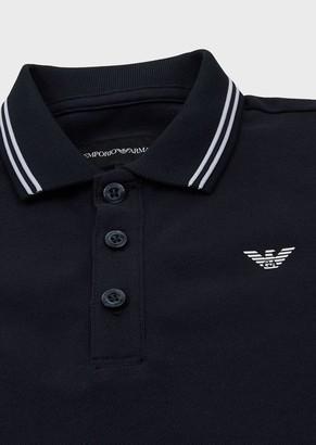 Emporio Armani Stretch Pique Polo Shirt With Striped Trim