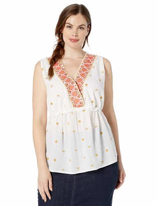 Lucky Brand Women's Plus Size Embroidered Sleeveless Romantic TOP