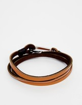 Seven London Hook Leather Wrap Bracelet In Brown
