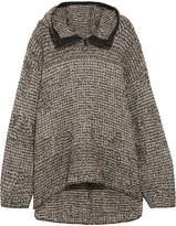 Topshop Oversized Knitted Hooded Sweater - Gray