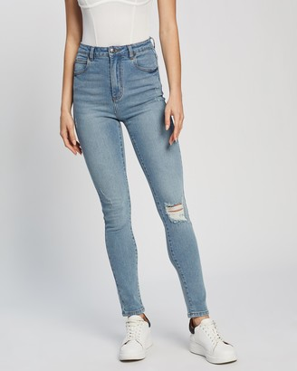 Atmos & Here Atmos&Here - Women's Blue High-Waisted - Nicole Skinny Jeans - Size 6 at The Iconic
