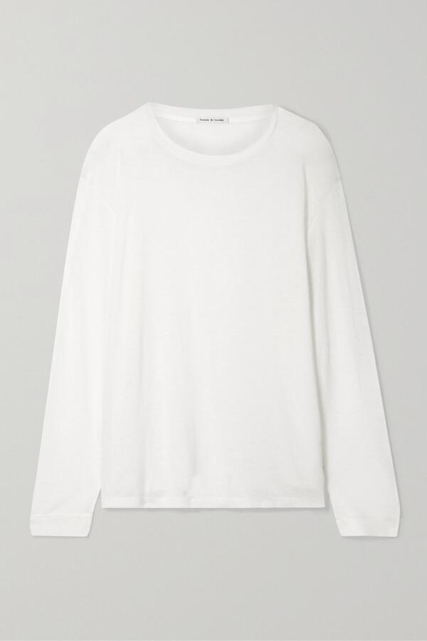 Thumbnail for your product : FRANCES DE LOURDES Marlon Slub Cashmere And Silk-blend Top - White