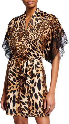 Natori Luxe Leopard Lace-Print Robe