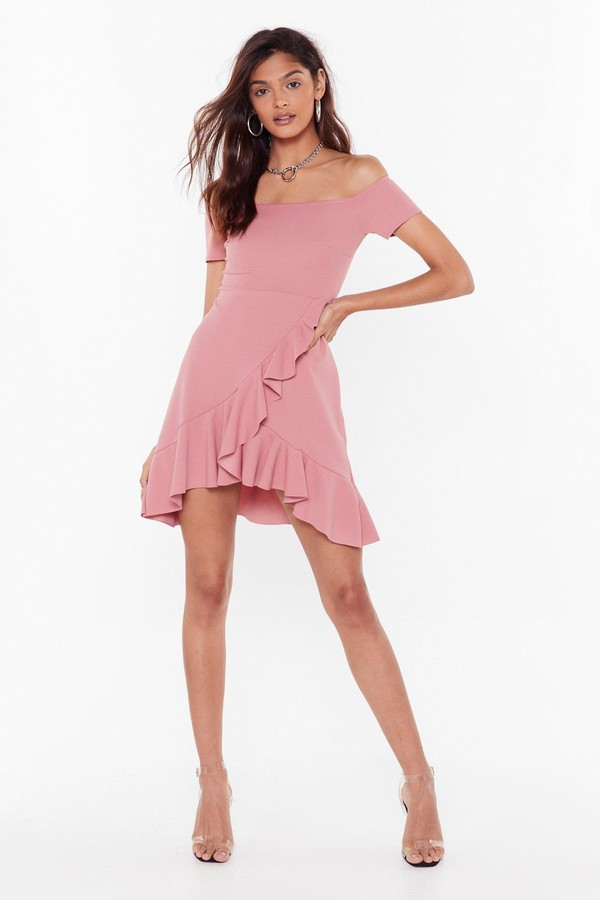 Nasty Gal Womens Show Me Off-the-Shoulder Mini Dress - Pink - 14