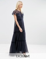 Needle & Thread Chiffon Lace Maxi Dress