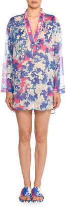 Emilio Pucci V-Neck Long-Sleeve Hydrangea-Print Cotton Gauze Kaftan